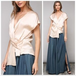 Cream twist front asymmetrical satin blouse